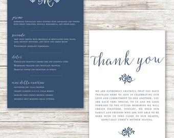 Florence Wedding Menu/Thank you card combo