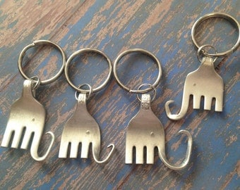 Key chain Elephant, Elephant keychain made from vintage silverware, upcycled fork made into Elephant, Alabama Mascot, Republican Party Eleph