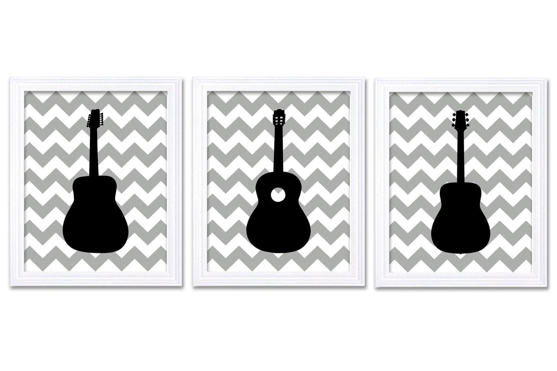 Guitar Nursery Art Nursery Prints Set of 3 Prints Grey Gray Black Chevron Boys Art Nursery Print Art