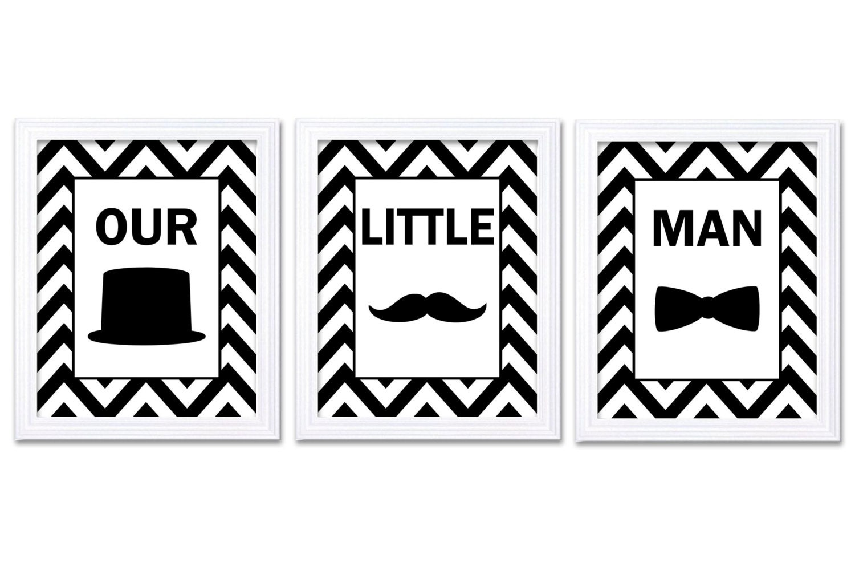 Our Little Man Nursery Art Set of 3 Black White Nursery Print Tophat Bowtie Tie Mustache Child Baby