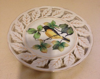 Vintage Hand Painted Gold Fonch Plate.