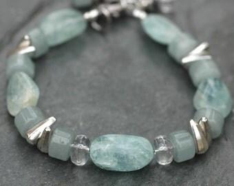 Blue Aquamarine Nugget and Quartz Crystal Gemstone Bracelet