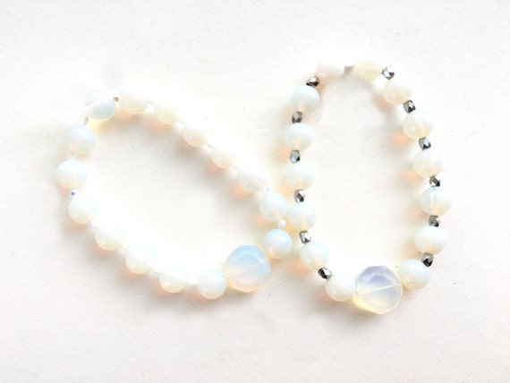 Opalite and Crystal Stretch Bracelet // Opal or Gunmetal Accent // Bride  // Bridesmaid // Gifts for Her // Stocking Stuffer