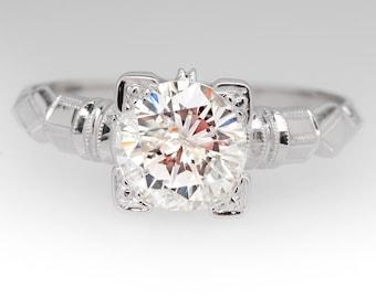 Vintage 1.12 Carat Diamond 1940's 18K White Gold Engagement Ring WMS11266
