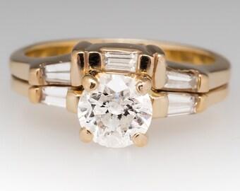 Vintage Engagement Ring - Retro .9 Carat Round Brilliant Diamond With Diamond Accents - 14K Gold Wedding Ring Set - CN11480