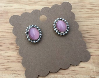 Pink and Silver Stud Earrings, Light Pink Earrings, Pink Earrings, Pink Stud Earrings, Pink Jewelry, Pink and Silver Earrings
