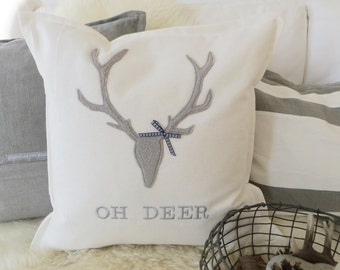 """Pillow """"Oh Deer"""" Chalet Style"""