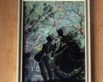 Large Silhouette Victorian Courting Framed Picture