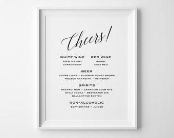 Modern Bar Menu Wedding Reception Sign, Cheers Sign, Wedding Menu Sign, Custom Wedding Sign, Black and White Wedding Reception Signage, WS2B