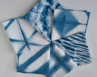 Fat Quarters Indigo Shibori Naturally dyed cotton quilting