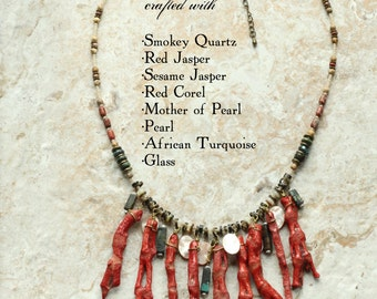 Red Coral Bib *Boho* Statement Necklace Red Jasper and Coral African Turquoise: Under the Sea