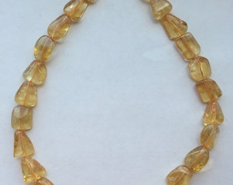 "Citrine Quartz Smooth Nuggets 16"" Strand - 12mm x 10mm"