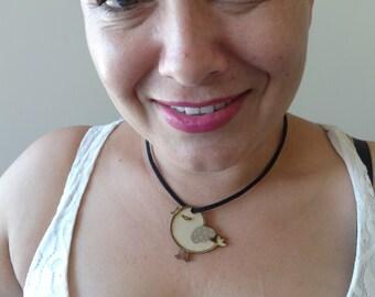 Bird Necklace Laser Cut Bird with Leather chocker