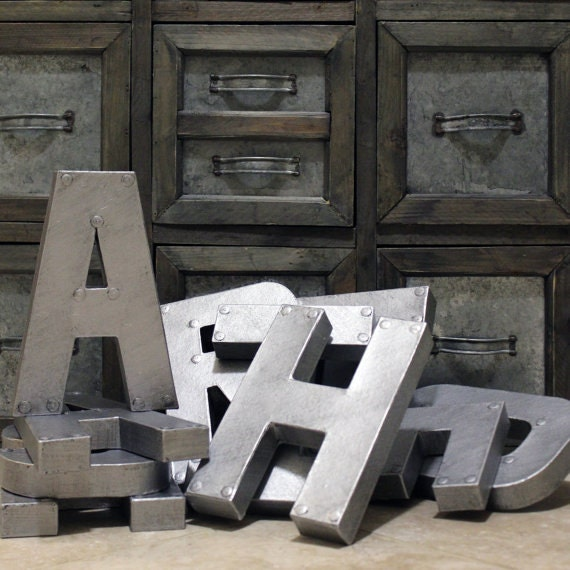industrial zinc faux metal letters and numbers 8 or. Black Bedroom Furniture Sets. Home Design Ideas