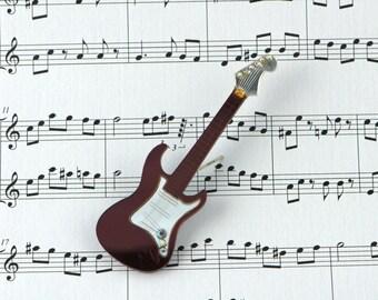 Guitar Pin, Ruby Red Guitar Brooch, Vintage Stratocaster Brooch, Lucite Brooch