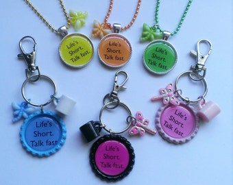 "CLEARANCE YOU PICK Gilmore Girls Inspired ""Life's Short, Talk Fast"" Necklace or Clip"