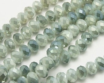 "Electroplate Glass Beads Strands, Faceted Abacus, Dark Sea Green, 3x2mm, Hole: 1mm; about 100pcs/strand, 10"" #047"