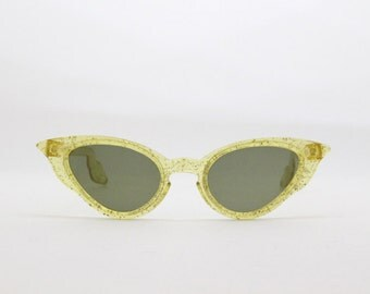 cat eye sunglasses, 50s glasses, original vintage eyewear, yellow frame, retro eyeglasses