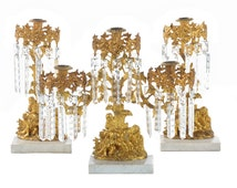 Gilt Bronze set of 3 Figural Candle Holders centerpiece w/Crystals