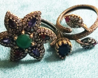 Hand made Double Finger linked Ring