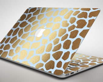 Gold Flaked Animal Light Blue 3 - Apple MacBook Air or Pro Skin Decal Kit (All Versions Available)