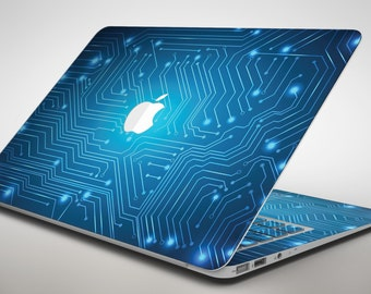 Blue Circuit Board V2 - Apple MacBook Air or Pro Skin Decal Kit (All Versions Available)
