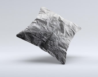 The Dark Black Wrinkled Paper ink-Fuzed Decorative Throw Pillow