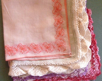Group of Five Vintage Hand Decorated Cotton Women's Hankies