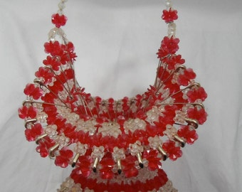 Vintage Beaded Safety Pin Basket-Tramp Art-Folk Art-Red and Clear-Collectible