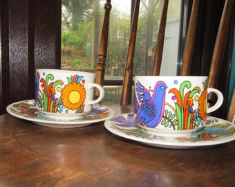 Vintage Villeroy & Boch Acapulco 2 Teacups and Saucers