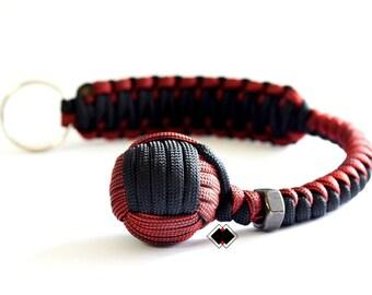 """1"""" Monkey Fist keychain black-dark red 550 Paracord Handmade in USA"""