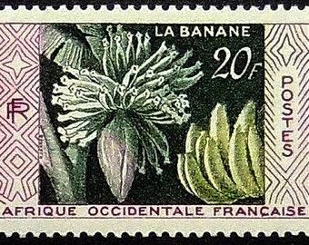 Bananas Afrique Occidentale -Handmade Framed Postage Stamp Art 20428AM