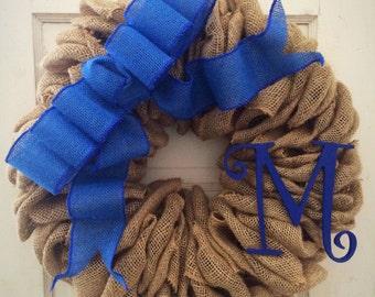 BlueWreath-Blue Burlap-Spring Wreath-Blue decor-Monogram Wreath-Burlap Wreath-Personalized Wreath-Blue Front Door-Blue Burlap Wreath-Blue