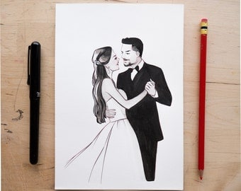 INK SKETCH of a Sofia Vergara wedding