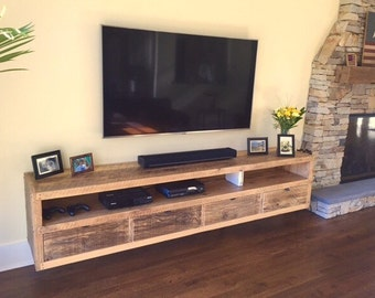 Floating notched leg media console / tv stand