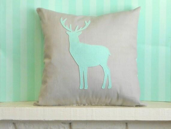 Deer Pillow / Mint & Grey / Custom / Woodland Decor / Deer Silhouette / Decorative Pillow / Woodland Animal / Cabin Decor / Reindeer Pillow
