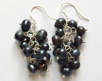Handmade 925 Silver earrings with natural Pearl waterfall black