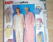Robe and Nightgown, Pajamas pattern, McCalls 3370 Sewing Pattern, Size XS - Med, Top and Shorts, Robe,  2 piece PJs, Sleepwear, Epsteam