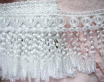 "SALE 10yds LARGE Tassel 5"" Lampshade Fringe~ WHITE Venise Victorian Curtain"