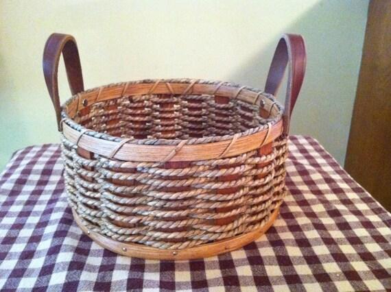 Handmade Rope Basket : Amish handmade reed rope bun basket in by