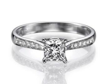 0.3 CT Halo Diamond Engagement Ring Platinum Moissanite F SI1 Model JR-127SP