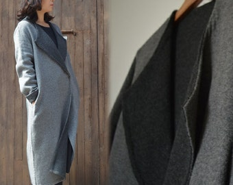 425---Double Face Wool Coat, Gray Long Coat, Made to Order.