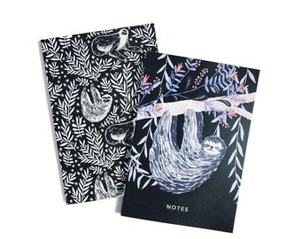 Sloths - Set of Two Lined // Plain A6 Notebooks