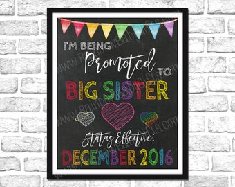 I'm Being Promoted To Big Sister Pregnancy Announcement Sign, For Big Sister Of An Angel Baby & A Rainbow Baby, Rainbow Pregnancy Reveal
