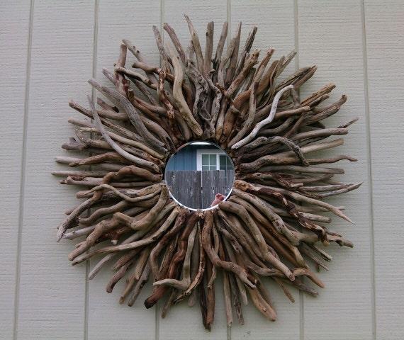 Pier One Round Wall Decor : Round wall mirror driftwood art sunburst hanging large