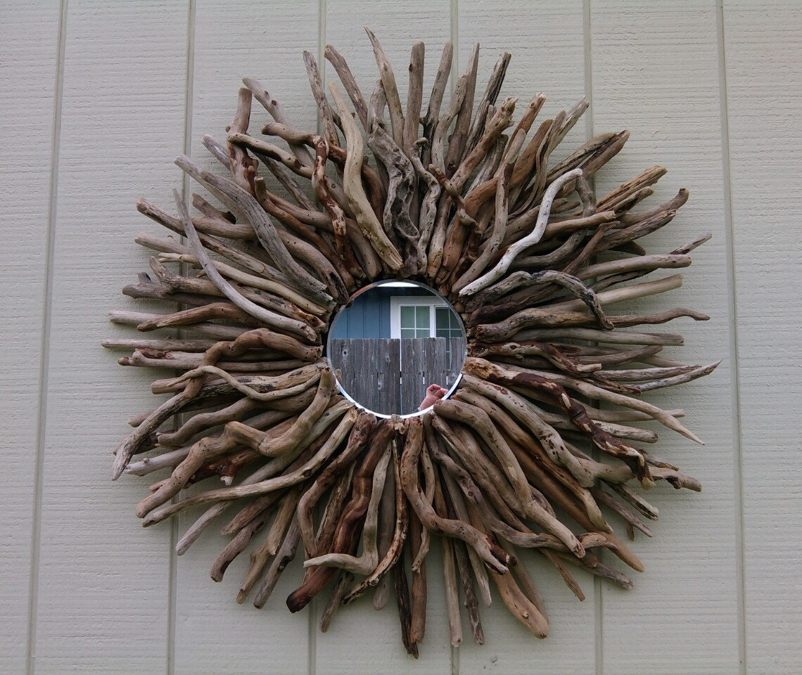 round wall mirror driftwood art sunburst wall hanging large. Black Bedroom Furniture Sets. Home Design Ideas
