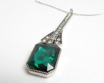 Necklace Art Deco Green Pendant Necklace