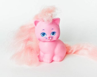 Lady LovelyLocks Kitty - CurlyKittens - Pink Vinyl Cat - 1988 TCFC Those Characters From Cleveland - 80s toys - Pretty Kitty