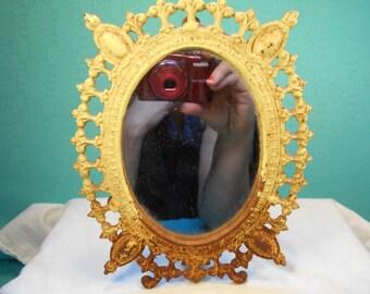 Vintage Mirror- Cast Iron Framed Mirror- Small Vintage Cast Iron  Stand Mirror