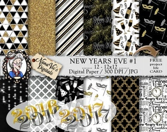 New Years Eve Digital Paper, Gold / Silver / Black / White, Scrapbooking / Photography overlay /CLIP ART / Patterns /Backgrounds / Prints